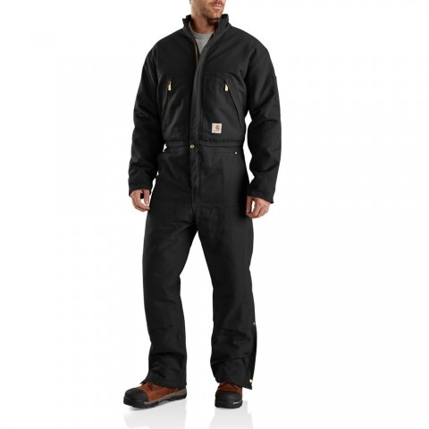 best price carhartt 103459 - x01 duck coveralls quilt lined black limited sale last chance