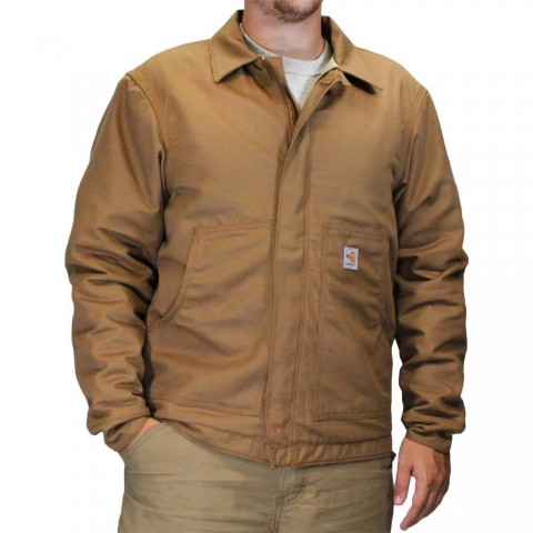 limited sale carhartt 101624 - flame-resistant dearborn canvas jacket quilt lined brown best price last chance