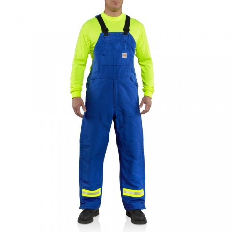 best price carhartt 100171 - flame-resistant duck bib overall with reflective striping quilt lined royal blue last chance limited sale