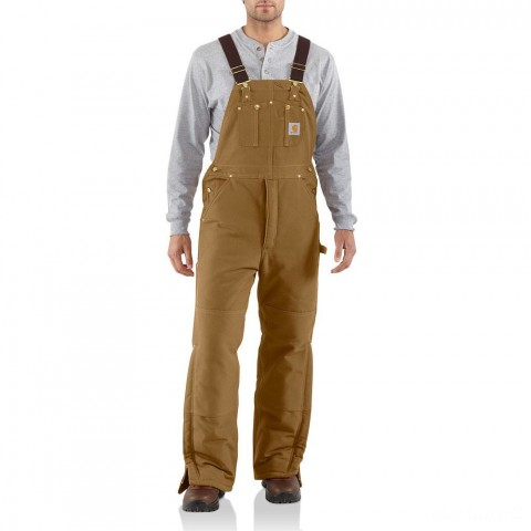 best price carhartt r03 - arctic bib overall quilt lined brown last chance limited sale