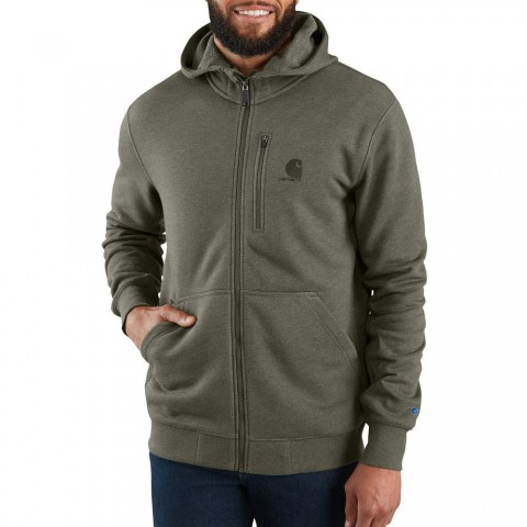 best price carhartt 103851 - force delmont graphic full-zip hooded sweatshirt moss heather last chance limited sale