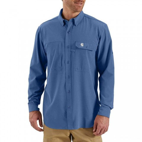 best price carhartt 103011 - force extremes™ angler woven long sleeve shirt federal blue limited sale last chance