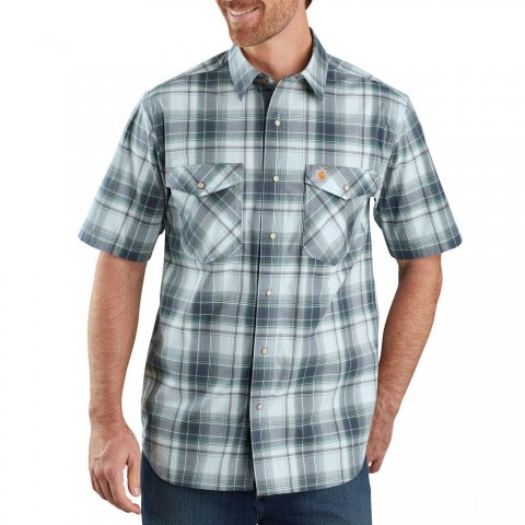 last chance carhartt 104171 - rugged flex relaxed fit lightweight snap-front plaid shirt bluestone limited sale best price