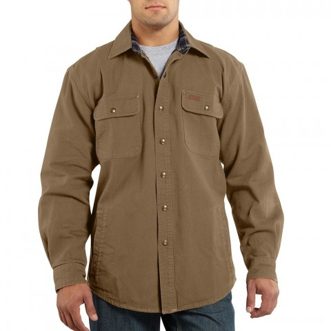 last chance carhartt 100590 - weathered canvas long sleeve shirt jac frontier brown limited sale best price