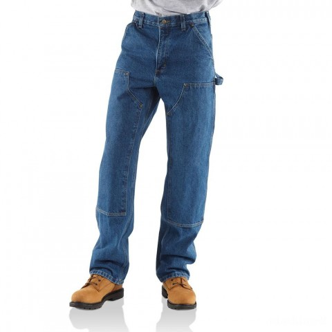 best price carhartt b73 - double knee washed denim loose fit logger jean darkstone last chance limited sale