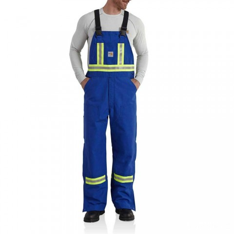last chance carhartt 101703 - flame-resistant striped duck bib overall unlined royal blue limited sale best price