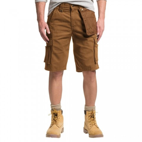 best price carhartt 102361 - multi-pocket ripstop cargo shorts 11 inch brown limited sale last chance
