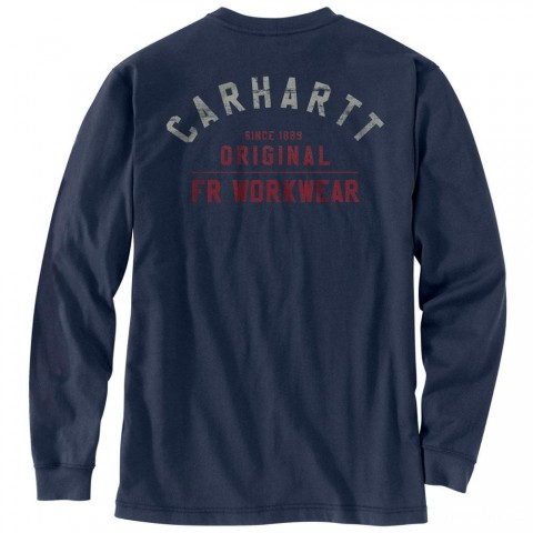 limited sale carhartt 104373 - flame-resistant force long sleeve graphic t-shirt navy best price last chance