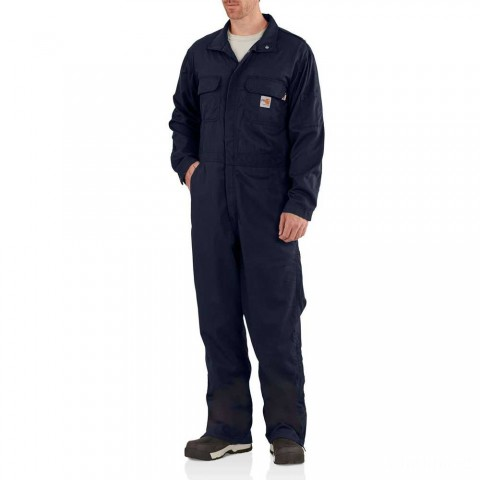 best price carhartt 102150 - flame-resistant deluxe coverall dark navy limited sale last chance