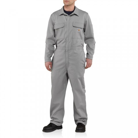 best price carhartt 101017 - flame-resistant classic twill coverall gray limited sale last chance