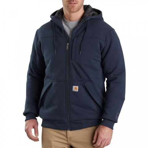 best price carhartt 103312 - rain defender® rockland quilt-lined hooded sweatshirt new navy limited sale last chance