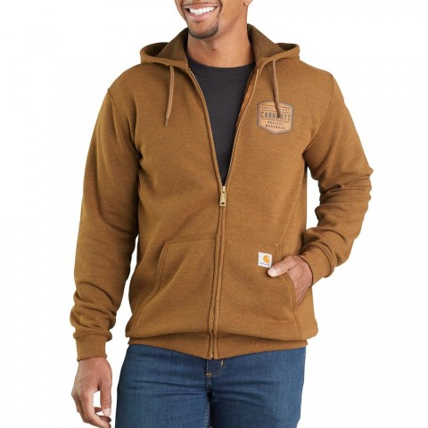 last chance carhartt 103868 - midweight chest graphic full-zip hooded sweatshirt oiled walnut heather best price limited sale