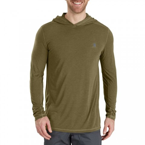 best price carhartt 103300 - force extremes® hooded pullover shirt burnt olive heather last chance limited sale