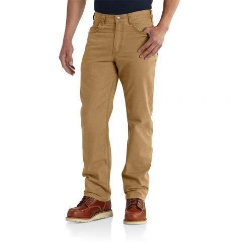 limited sale carhartt 102517 - rugged flex® rigby five pocket relaxed fit pant hickory best price last chance
