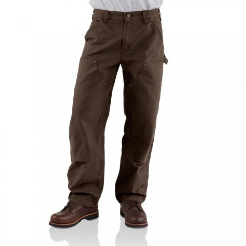 best price carhartt b136 - double front washed duck loose fit pant dark brown last chance limited sale
