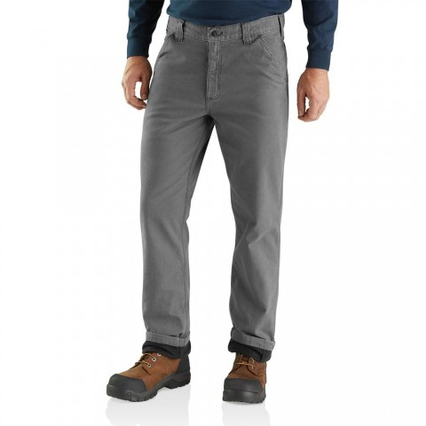 last chance carhartt 103342 - flannel lined rugged flex® rigby dungaree gravel best price limited sale