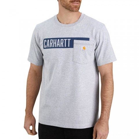 limited sale carhartt 104180 - relaxed fit stripe graphic pocket t-shirt heather gray last chance best price