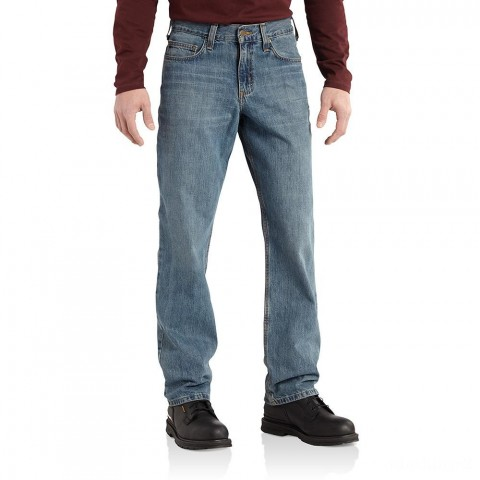 limited sale carhartt b320 - lightweight straight leg relaxed fit jean pioneer blue best price last chance