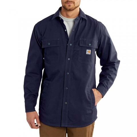 last chance carhartt 102682 - flame resistant full swing® quick duck® shirt jac dark navy best price limited sale