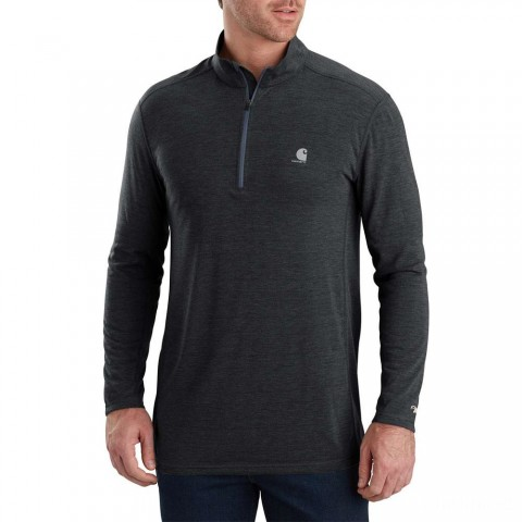 limited sale carhartt 103299 - force extremes® long sleeve half-zip shirt black heather best price last chance