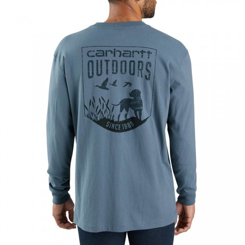 last chance carhartt 104028 - workwear dog graphic long sleeve t-shirt steel blue limited sale best price
