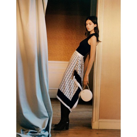 last chance black dress with scarf-style motifs - white / limited sale best price
