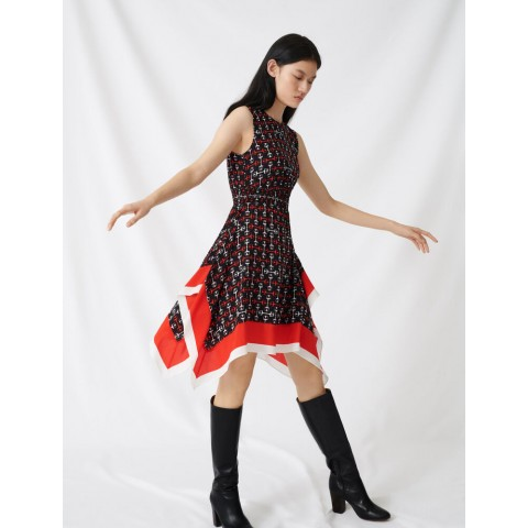 limited sale smocked satin dress with scarf print - black/red last chance best price