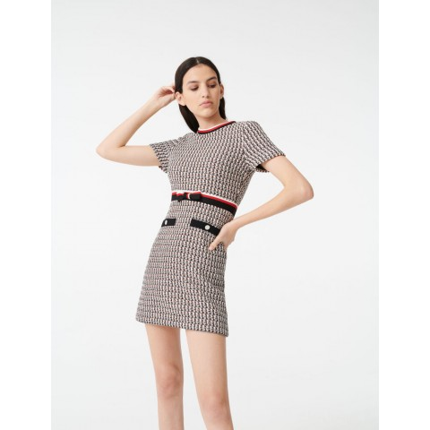 limited sale lurex tweed-style dress with bands - multi-coloured last chance best price