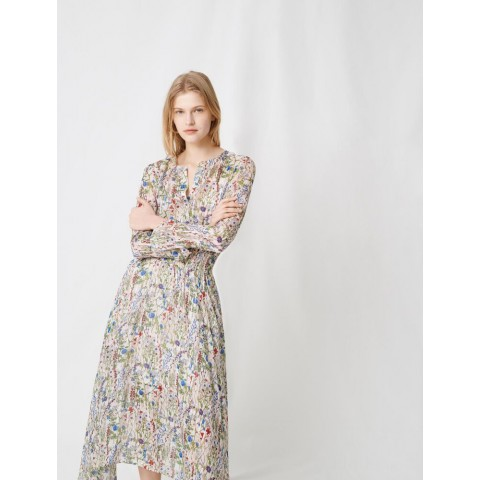 limited sale floral print long asymetrical dress - ecru / green best price last chance