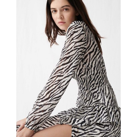 limited sale printed black and white asymmetric dress - / best price last chance