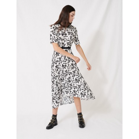 last chance motif dress with inlaid waistband - white / black limited sale best price
