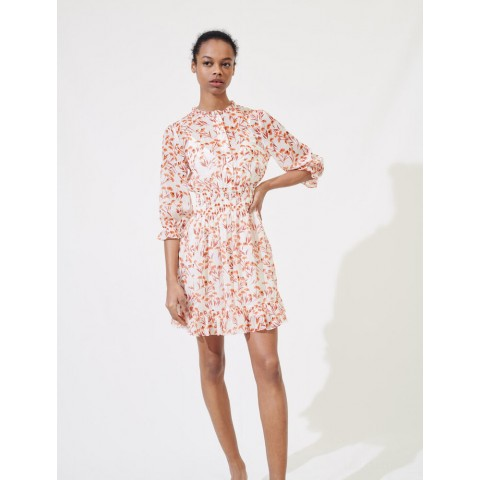 best price printed smocked dress - terracota last chance limited sale