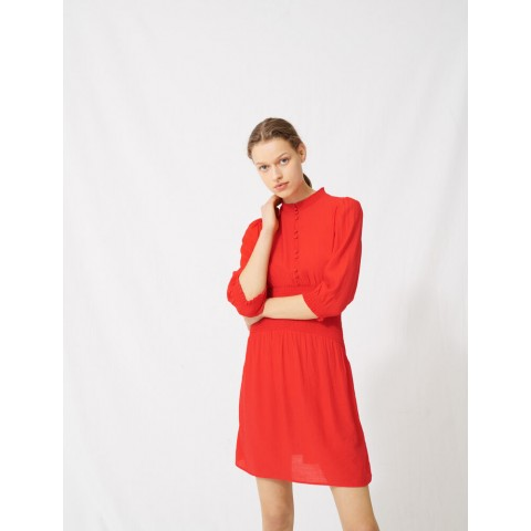 best price mid-length smocked red dress - limited sale last chance