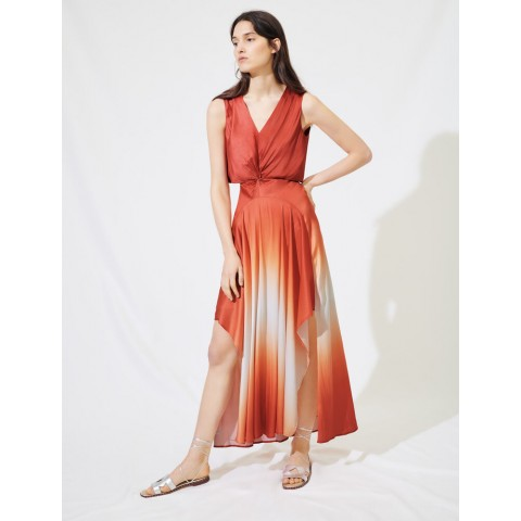last chance ombre satin scarf dress - terracota best price limited sale