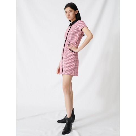last chance tweed-style dress, contrasting details - fuchsia best price limited sale