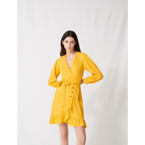 last chance sunny yellow wrap tie dress - limited sale best price