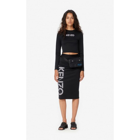 limited sale cropped kenzo logo t-shirt - black best price last chance