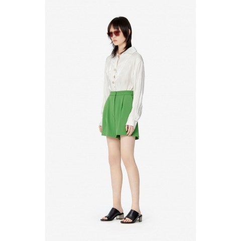 limited sale pleated shorts - lime best price last chance