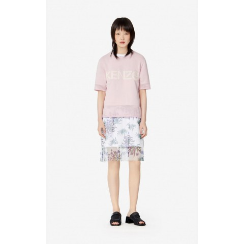 last chance kenzo logo dual-material t-shirt - faded pink best price limited sale