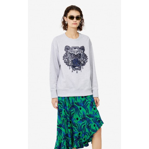 best price hand-embroidered tiger sweatshirt - pale grey last chance limited sale