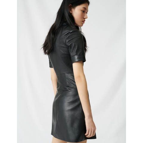 limited sale buttoned leather shirt dress - black best price last chance