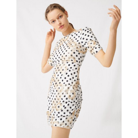 best price polka dot and embroidered sequin dress - white / black limited sale last chance