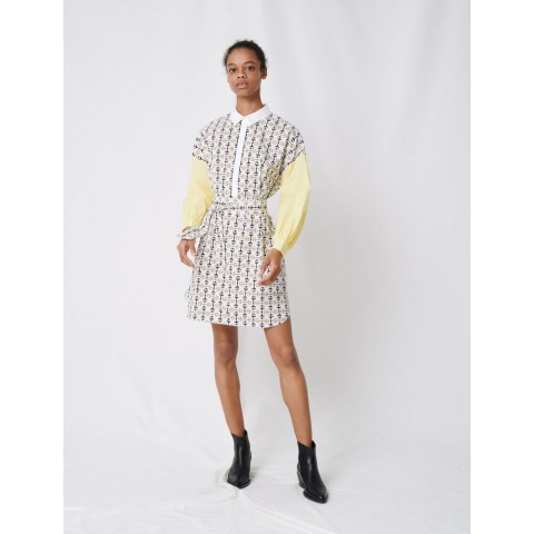 limited sale printed cotton shirt dress - white/yellow best price last chance