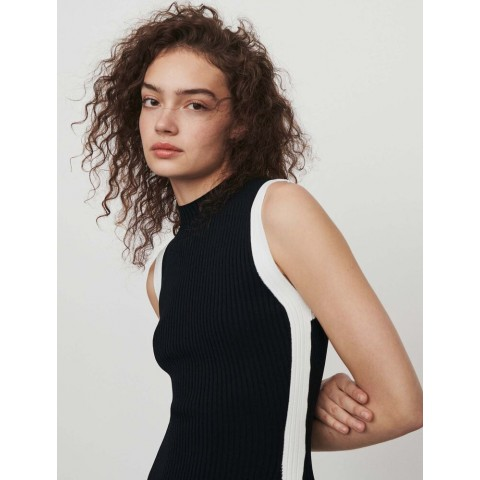 best price split and contrasting ribbed dress - black limited sale last chance