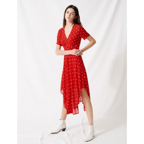 last chance long embroidered dress - red best price limited sale