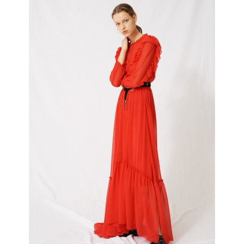 last chance long dress with ruffles - red limited sale best price