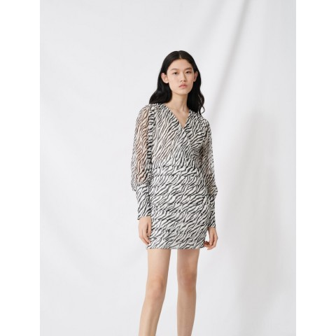 last chance shirred printed dress - black / white limited sale best price
