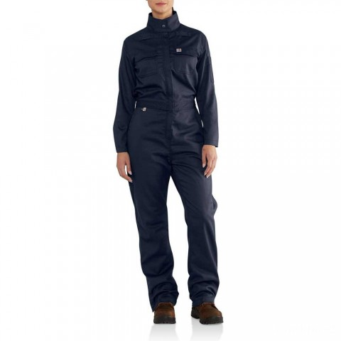 last chance carhartt 102450 - women's flame resistant rugged flex® coverall dark navy limited sale best price