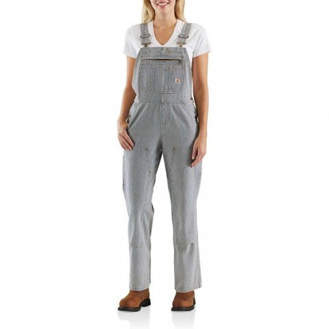 best price carhartt 103042 - women's brewster double front striped bib overalls unlined railroad stripe limited sale last chance