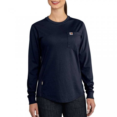 limited sale carhartt 102685 - women's flame resistant force cotton long sleeve crewneck dark navy best price last chance